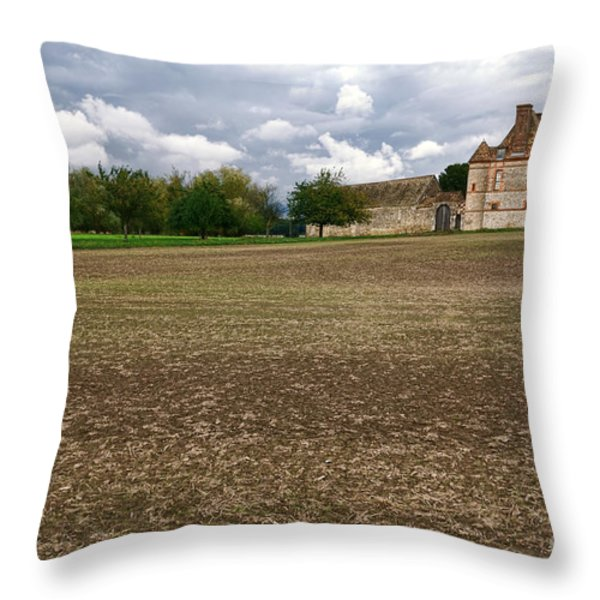Farm Castle Throw Pillow by Olivier Le Queinec