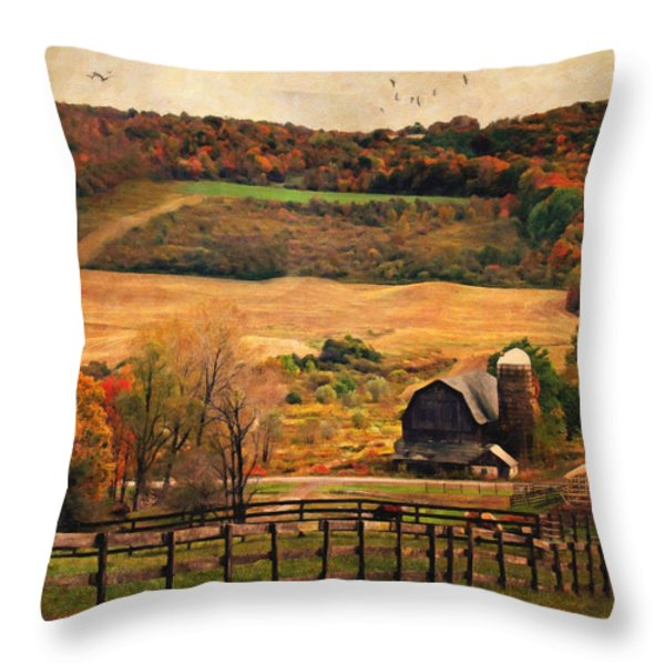 Farm Country Autumn - Sheldon NY Throw Pillow by Lianne Schneider