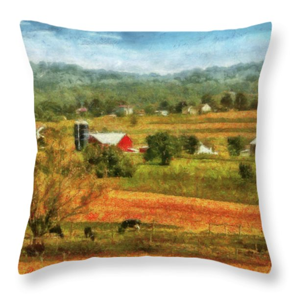 Farm - Cow - Cows Grazing Throw Pillow by Mike Savad