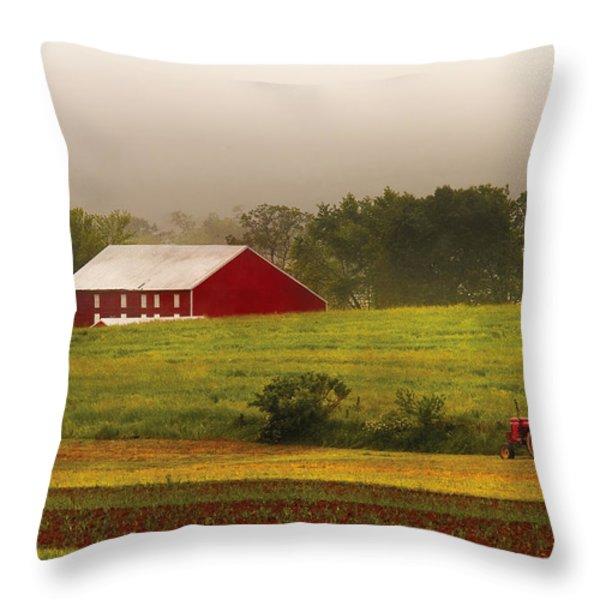 Farm - Farmer - Tilling The Fields Throw Pillow by Mike Savad