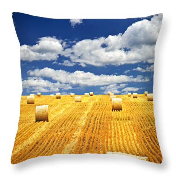 Farm field with hay bales in Saskatchewan Throw Pillow by Elena Elisseeva