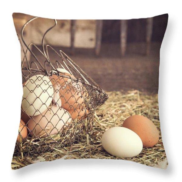 Farm Fresh Eggs Throw Pillow by Edward Fielding