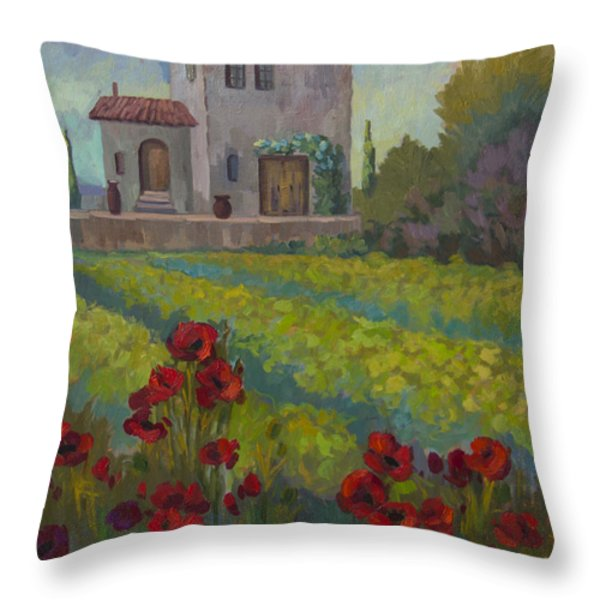 Farm In Sienna Throw Pillow by Diane McClary