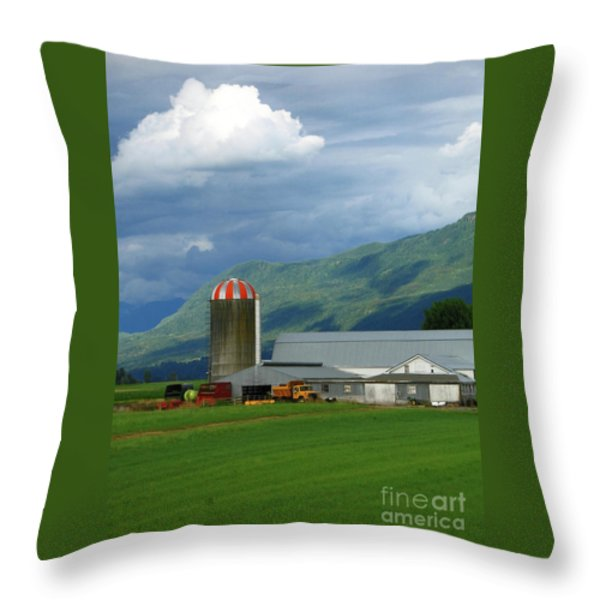 Farm In The Valley Throw Pillow by Ann Horn