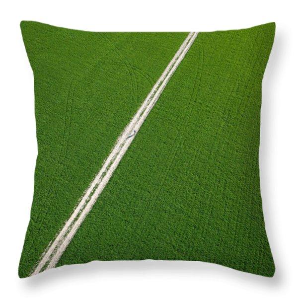 Farm road through green fields Richmond Ontario dairy farm Throw Pillow by Rob Huntley