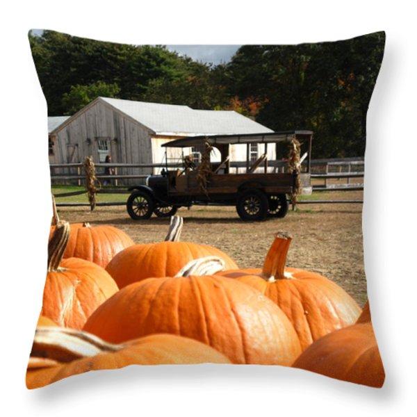 Farm Stand Pumpkins Throw Pillow by Barbara McDevitt