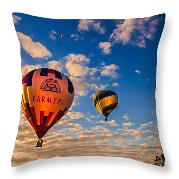 Farmer's Insurance Hot Air Ballon Throw Pillow by Robert Bales