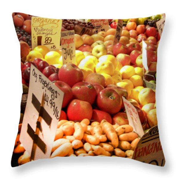 Farmers Market Throw Pillow by Karen Wiles