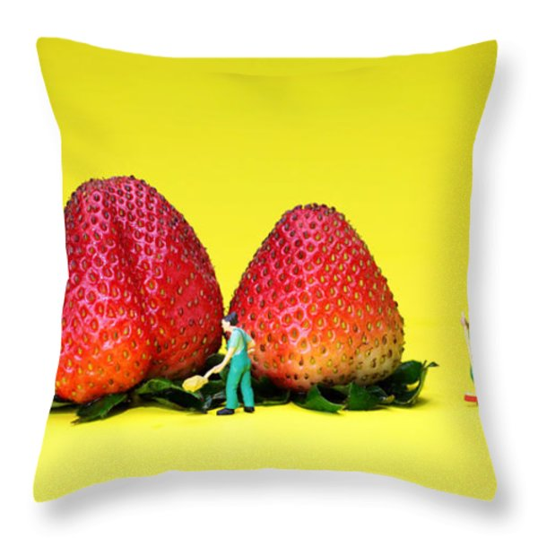 Farmers Working Around Strawberries Throw Pillow by Paul Ge