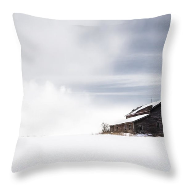 Farmhouse - A Snowy Winter Landscape Throw Pillow by Gary Heller
