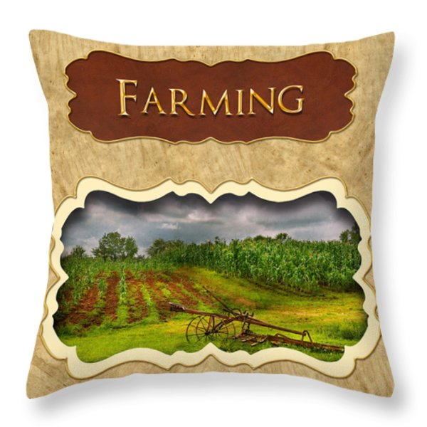 Farming and country life button Throw Pillow by Mike Savad
