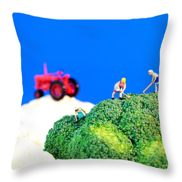 Farming On Broccoli And Cauliflower II Throw Pillow by Paul Ge