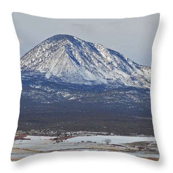 Farmland under the mountain Throw Pillow by Meandering Photography