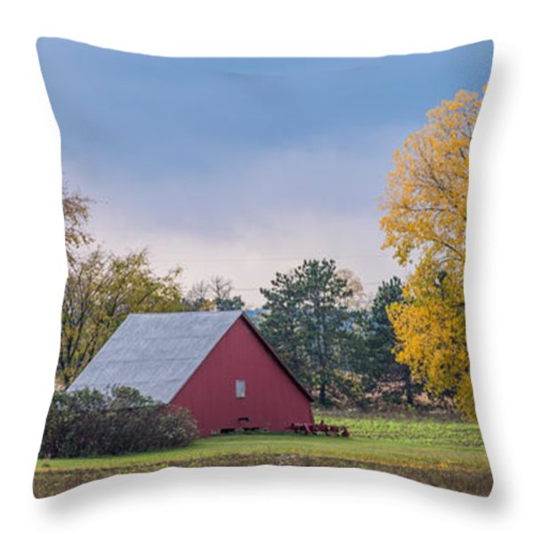 Farmstead With Fall Colors Throw Pillow by Paul Freidlund
