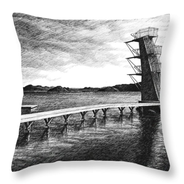 Farsund Badehuset in Ink Throw Pillow by Janet King