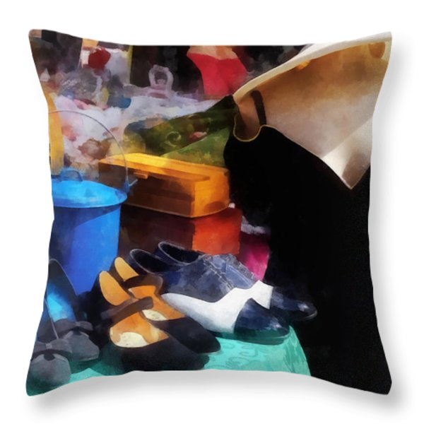Fashion - Clothing For Sale At Flea Market Throw Pillow by Susan Savad