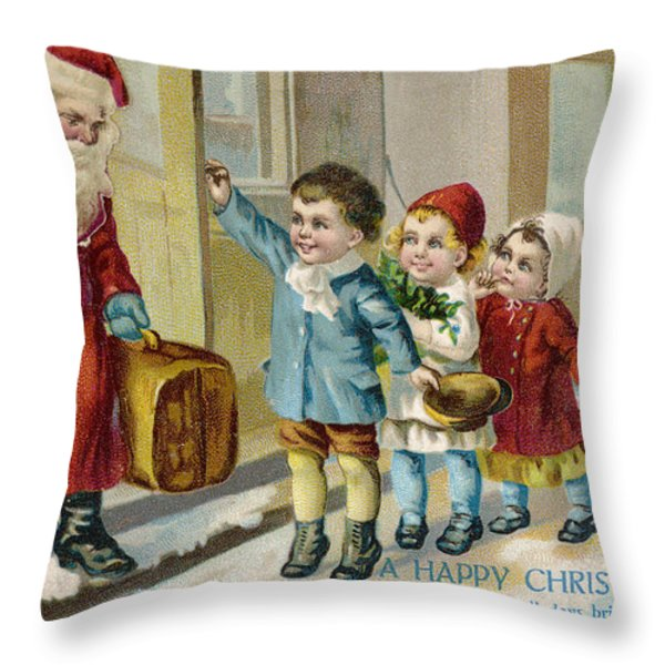 Father Christmas Disembarking Train Throw Pillow by Mary Evans