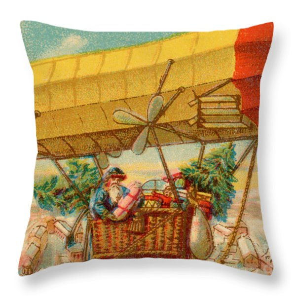 Father Christmas In Airship Throw Pillow by Mary Evans
