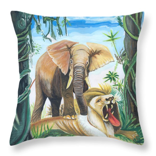 Faune D'afrique Centrale 01 Throw Pillow by Emmanuel Baliyanga
