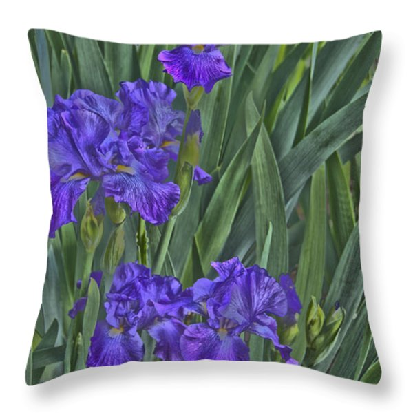 Faux Painted Irises Throw Pillow by Penny Lisowski
