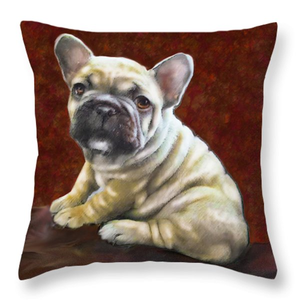 Fawn French Bulldog Puppy Throw Pillow by Jane Schnetlage