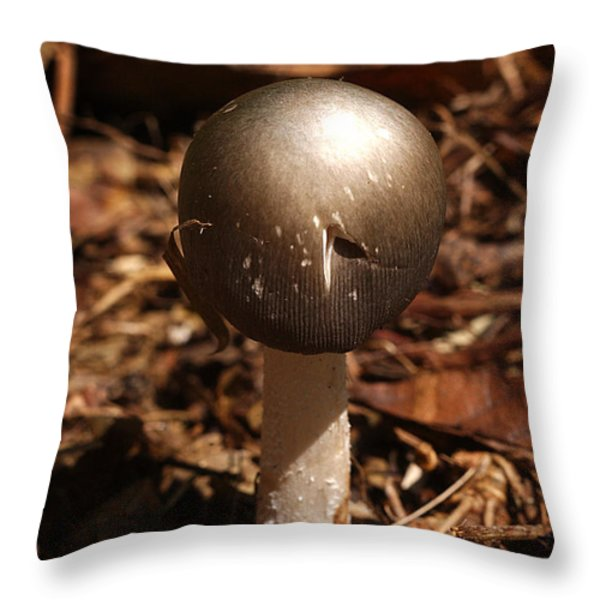 Fawn Mushroom Pluteus Cervinus Throw Pillow by Susan Leavines