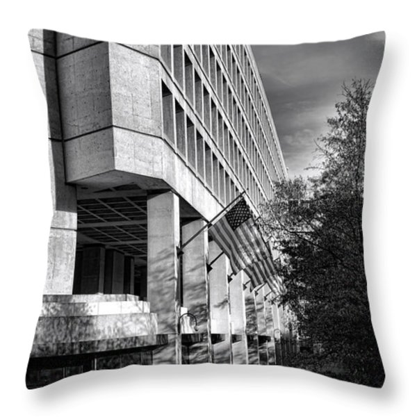 Fbi Building Modern Fortress Throw Pillow by Olivier Le Queinec