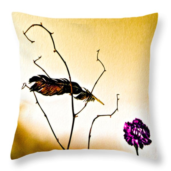 Feather and Carnation Throw Pillow by Bob Orsillo