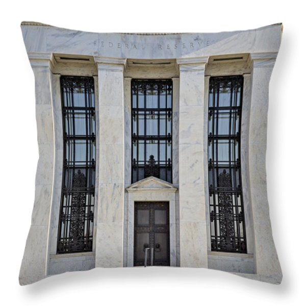 Federal Reserve Throw Pillow by Susan Candelario