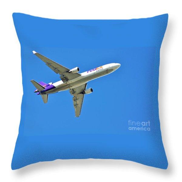 Fedex At Work Throw Pillow by Kaye Menner