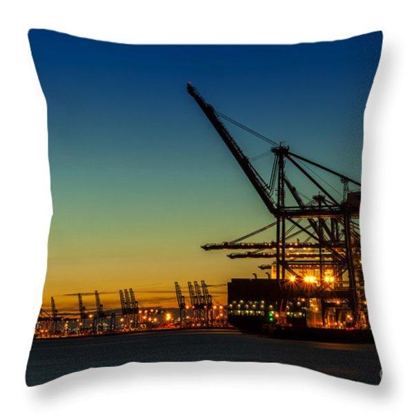 Felixstowe Docks Throw Pillow by Svetlana Sewell