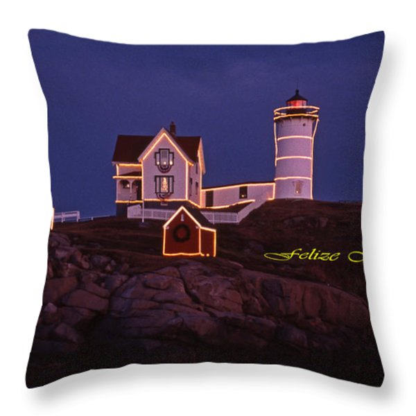 Felize Navidad Nubble Throw Pillow by Skip Willits