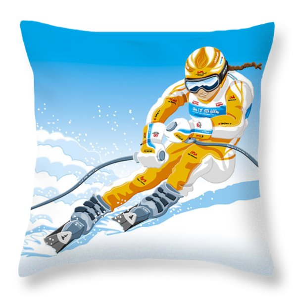 Female Downhill Skier Winter Sport Throw Pillow by Frank Ramspott
