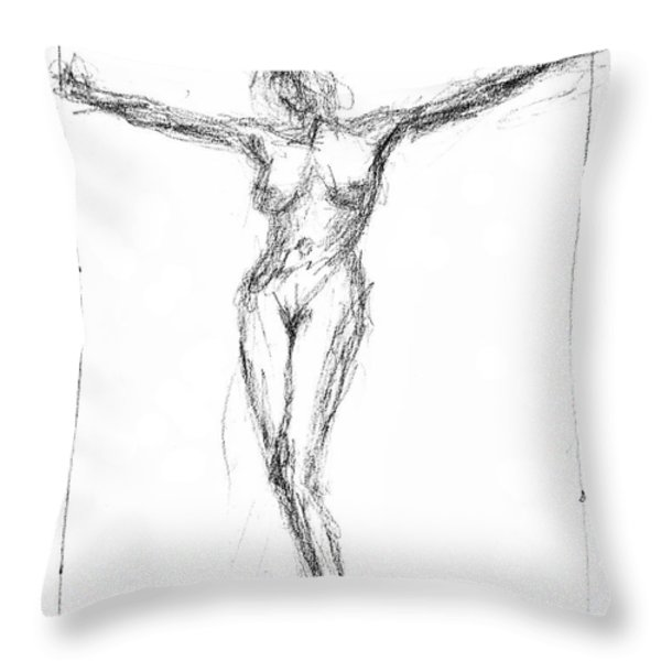 Female Nude In The Pose As Jesus Christ Crucifix  - Pencil Drawing Throw Pillow by Nenad Cerovic