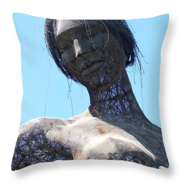 Female Sculpture On San Francisco Treasure Island 7d25444 Throw Pillow by Wingsdomain Art and Photography