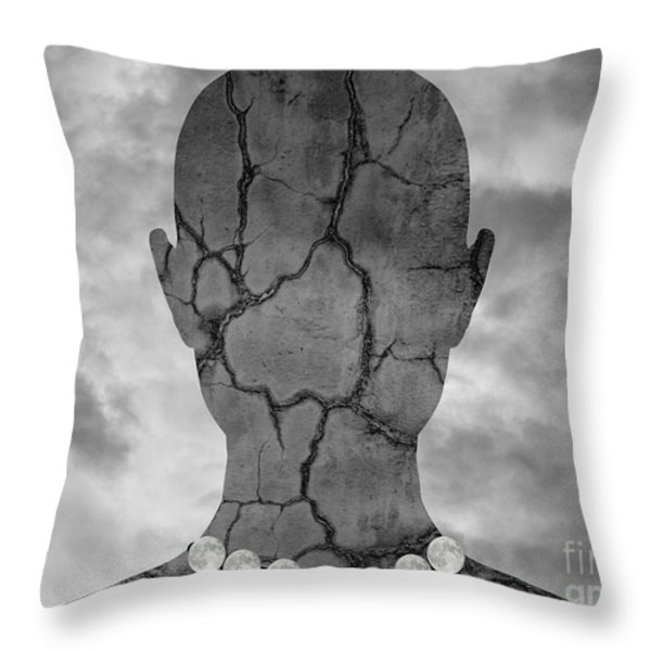 Feminine Figure With Moon Necklace Throw Pillow by David Gordon