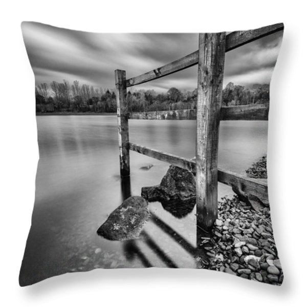 Fence in the loch  Throw Pillow by John Farnan