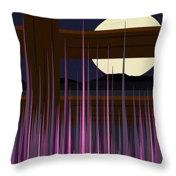 Fenced Field  Throw Pillow by Val Arie