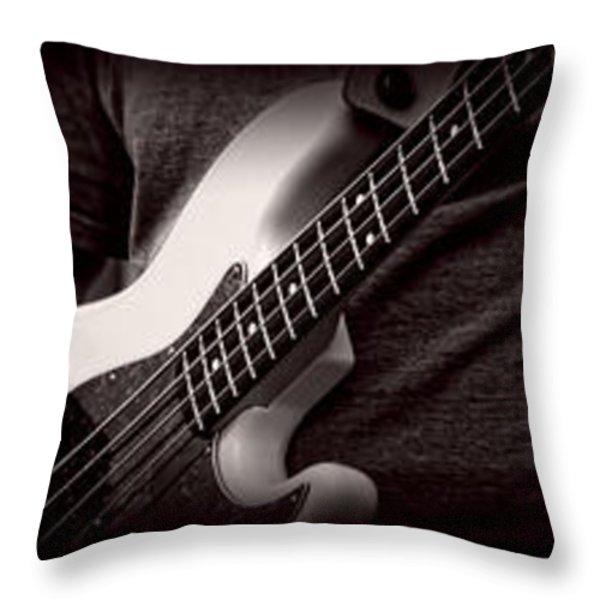 Fender Bass Throw Pillow by Bob Orsillo