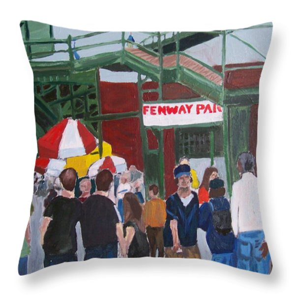 Fenway Park Spring Time Throw Pillow by Carmela Cattuti