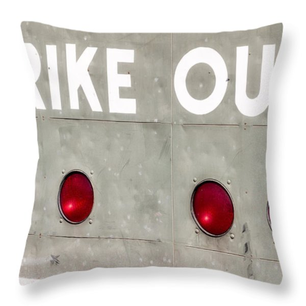 Fenway Park Strike - Out Scoreboard  Throw Pillow by Susan Candelario