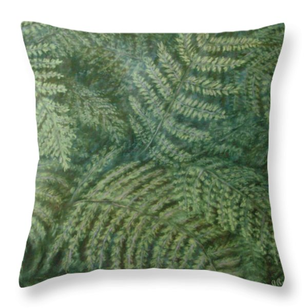 Fern Frenzy Throw Pillow by Joann Renner