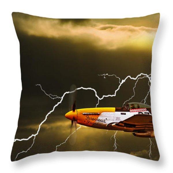 Ferocious Frankie In A Storm Throw Pillow by Meirion Matthias