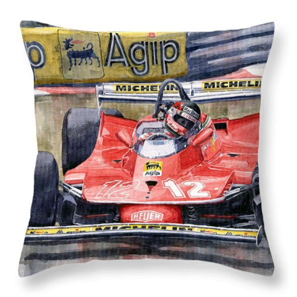 Ferrari  312t4 Gilles Villeneuve Monaco Gp 1979 Throw Pillow by Yuriy Shevchuk
