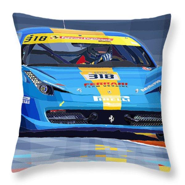 Ferrari 458 Challenge Team Ukraine 2012 Throw Pillow by Yuriy  Shevchuk