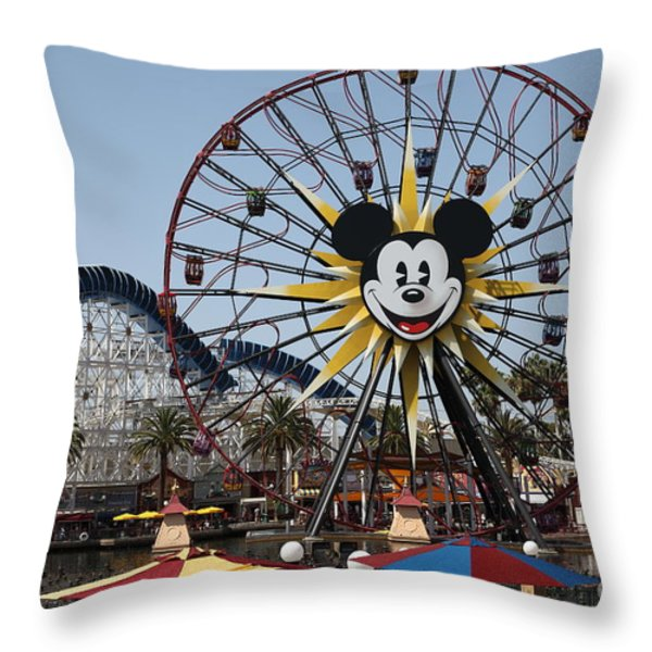 Ferris Wheel And Roller Coaster - Paradise Pier - Disney California Adventure - Anaheim California - Throw Pillow by Wingsdomain Art and Photography