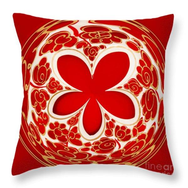 Festive Star Bauble Orb Throw Pillow by Anne Gilbert