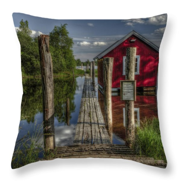 Fetsund Timber Booms part II Throw Pillow by Erik Brede