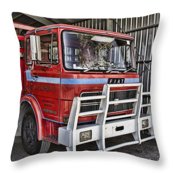 Fiat Truck Throw Pillow by Douglas Barnard