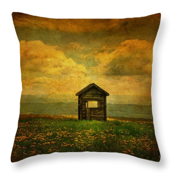 Field Of Dandelions Throw Pillow by Lois Bryan